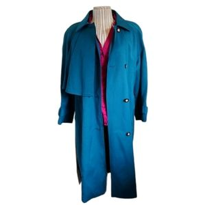 Handmade Vintage Trench Coat, Teal, Faux Fur